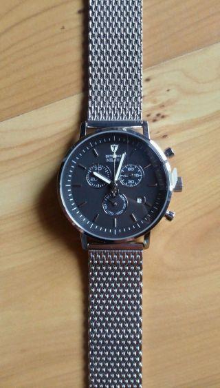 Detomaso Milano Herrenuhr Chronograph Milanaise Armband Edelstahl Schwarz Bild