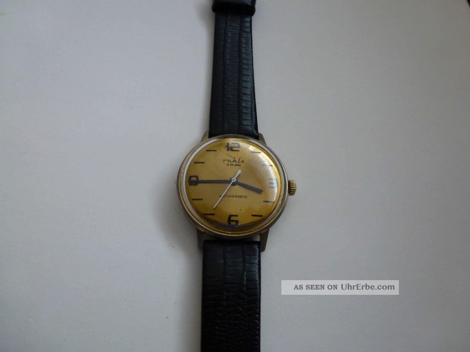 Hau Ruhla 2 Rubis Kult Uhr Aus Der Ddr,  70er.  Selten Armbanduhren Bild