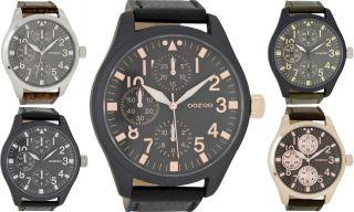 Oozoo Xxl Herren Uhr Lederband 51mm Verschiedene Farben 6050 Bild
