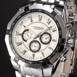 Curren Luxus Armbanduhr Edelstahl Quarzuhr Herrenuhr Sportuhr Chronograph Bild