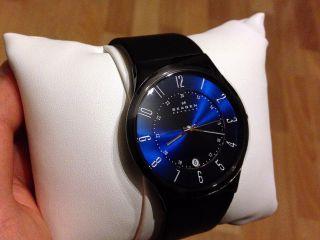 Skagen Herren Lederarmband Uhr & Ovp - Royalblau Schwarz Analog Bild