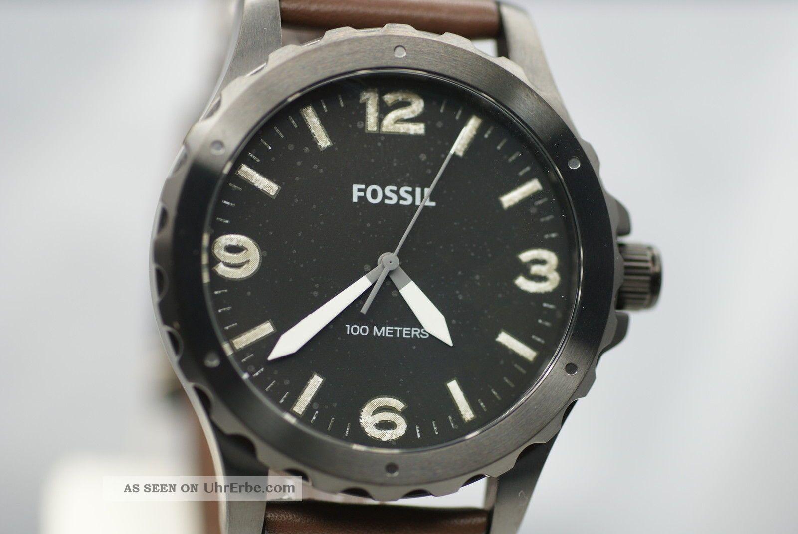 fossil herrenuhr jr1450 nate top uhr braunes breites. Black Bedroom Furniture Sets. Home Design Ideas