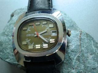 Osco Automatic Vintage Hau 70th Classic Mens Wristwatch Mechanic Topp Bild