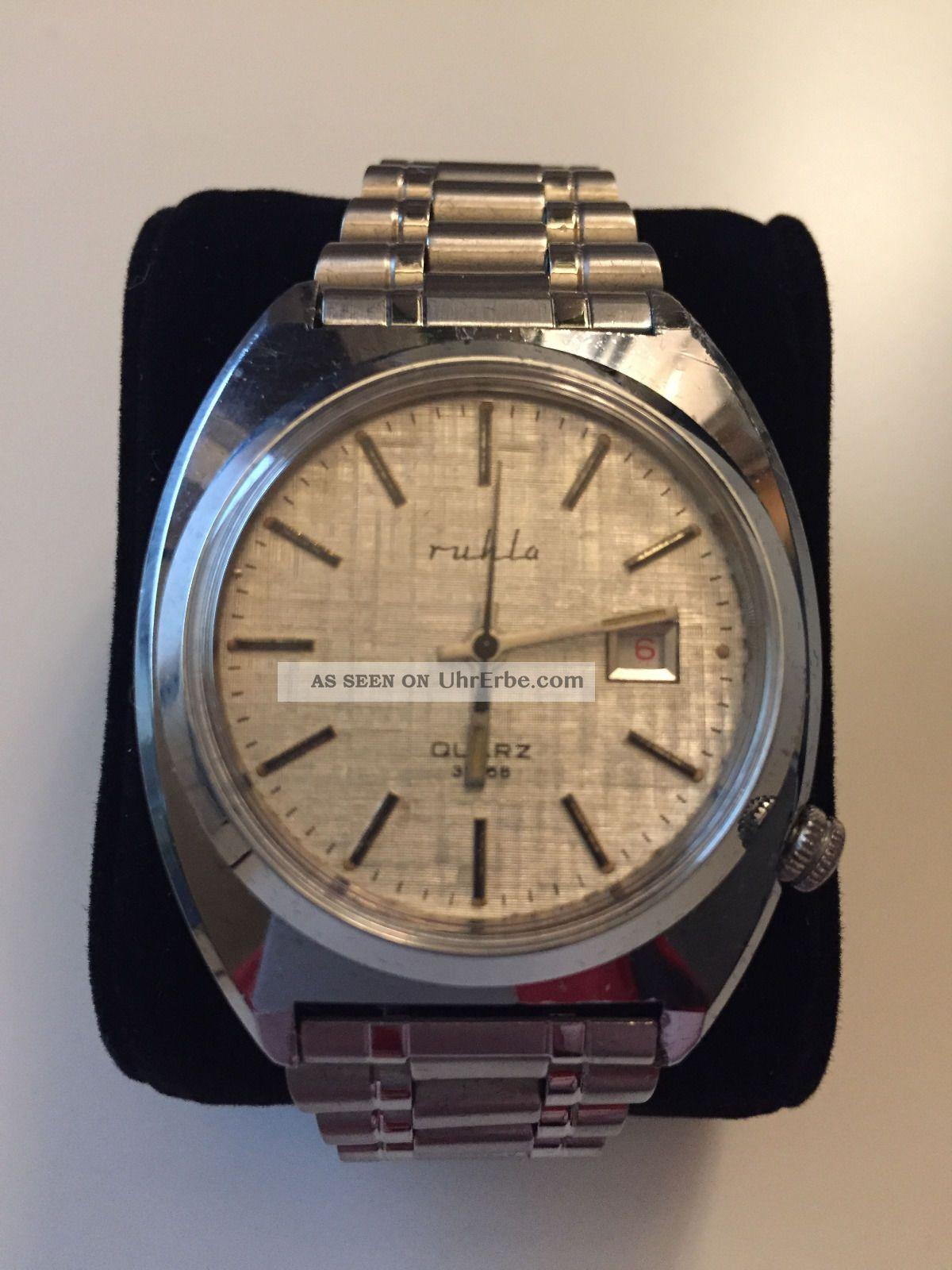 Ruhla Quarz Analog Uhr Ddr,  Modell 32768,  Nos,  Hau,  Kein Lcd,  Ungetragen,  Vintage Armbanduhren Bild
