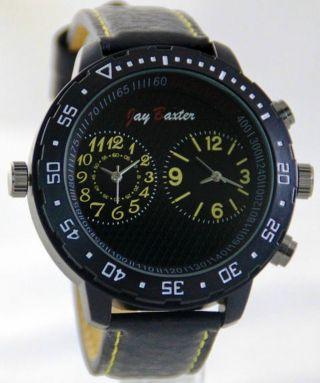 Xxl Großer Dual Timer Retro Herrenuhr Mit Leder Armbanduhr Von Jay Baxter Bild