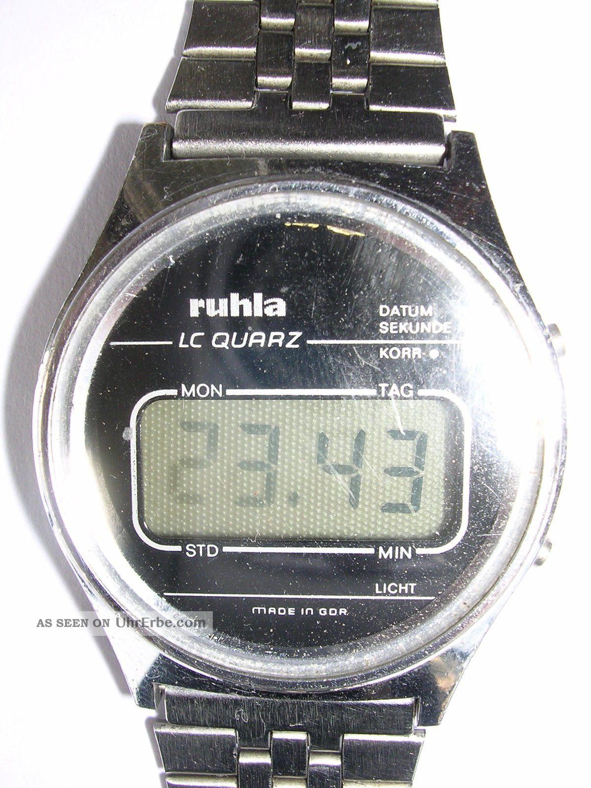 Für Sammler Lcd Retro Herrenruhr Ruhla Digital Hau Aus Nachlass Armbanduhren Bild