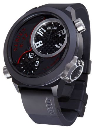 Welder Von U - Boot K32 Dreifach Zeit Zone/schwarz Ion - Beschichte Stahl Herren Uhr Bild