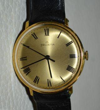 Helvetia Handaufzug Herren - Uhr Gold Plated Neuzustand / Herrenuhr Bild