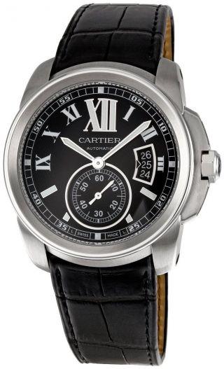 Armbanduhr Cartier W7100041 Calibre Herren Automatischer Stahl Schwarz Leder Uhr Bild
