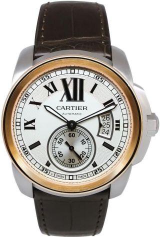 Herren Automatik Uhr Cartier W7100039 Werk 18k Pink Gold/leder Bild
