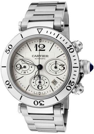 Cartier Pasha W31089m7 Seatimer Herren Uhr 40mm Stahl Chronograph Bild