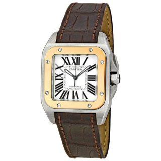 Cartier W20107x7 Santos 100 Herren Armbanduhr 18k Rosa Gold/braun Leder Uhr Bild