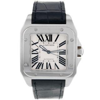 Cartier W20073x8 Santos 100 Große Herren Automatik Leder Anzug Uhr Schwarz Bild