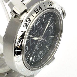 Herren Uhr Pasha De Cartier Gmt Autmtk.  Swrz Ziffernblatt Edelstahl Uhr W31049m7 Bild