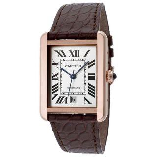 Cartier W5200026 Tank Solo Xl Automatische Armbanduhr Herren Gold Braun Leder Bild
