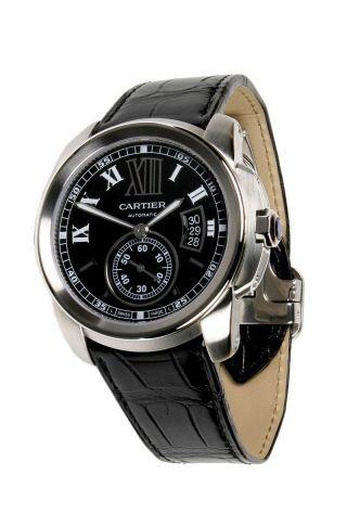 Armbanduhr Cartierw7100014 Herren Calibre 42mm Automatischer Stahl Schwarz Leder Bild