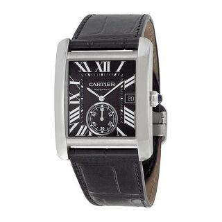 Herren Armbanduhr Cartier W5330004 Tank Mc Automatik Schwarzes Leder Armband Bild