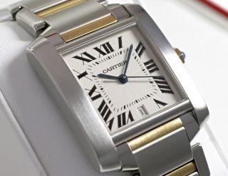 Cartier W51005q4 Tank Francaise Gross Armbanduhr Herren 18k Gelbgold/stahl Uhr Bild
