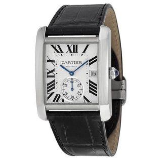 Herren Autom.  Leder Armbanduhr,  Cartier W5330003 Tank Mc,  Schwarz Klein Sekunden Bild
