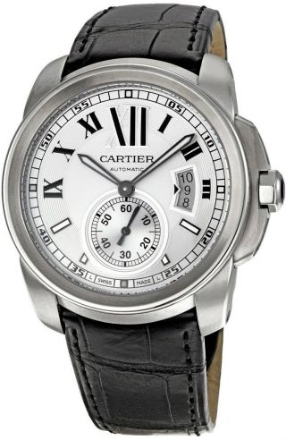 Armbanduhr Cartier W7100037 Calibre Herren Silber Ziffernblatt Schwarz Leder Bild