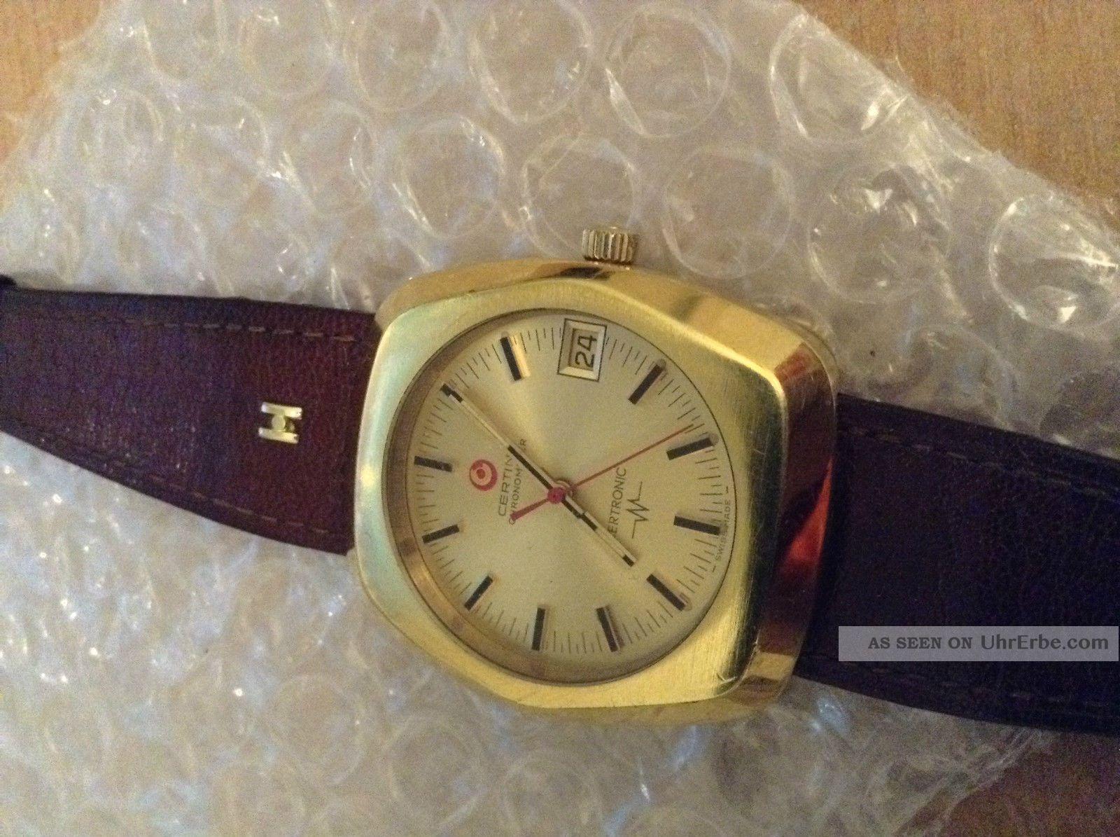 Rar Certina Certronic Chronometer Herren Armbanduhr Stimmgabel Datum Vergoldet Armbanduhren Bild