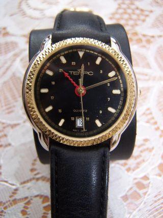 Herrenarmbanduhr Uhr Tempic Quartz Mit Schwarzem Lederarmband Bild