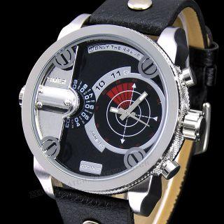 Zeiger Herren Uhr Analog Quarzuhr Mode Schwarz Leder Armbanduhr 2 Zeitanzeiger Bild
