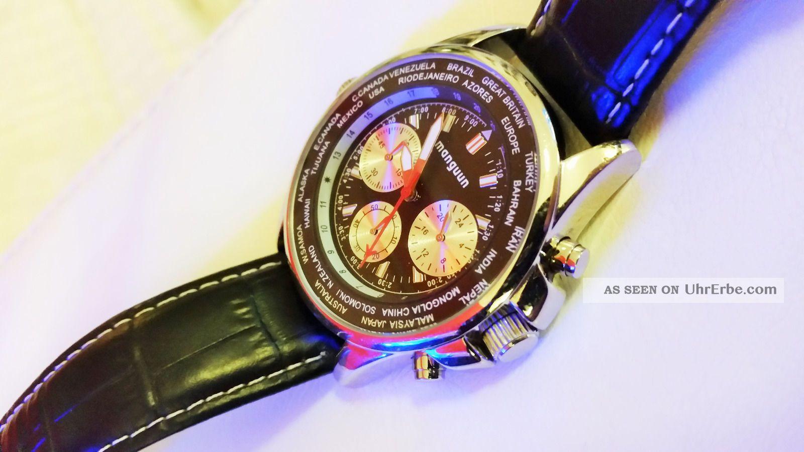 Manguun Fliegeruhr Und Chronograph Mit Zeitzonen Armbanduhren Bild