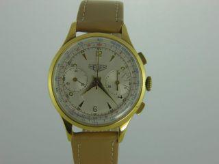 Heuer Vintage Chronograph Landeron 48 Handaufzug Herrenuhr 36 Mm Bild