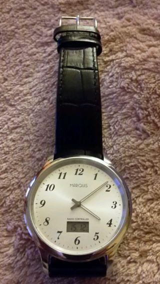Elegante Marquis Herren Funkuhr - Armbanduhr Leder Schwarz Bild