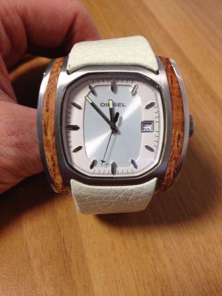 Diesel Herren Armbanduhr - Weiß Mit Holz Inletts - Weiß Top Design Bild