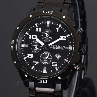 Zeiger Herren Armbanduhr Analog Quarz Uhr Edelstahl Armband Datum Herrenuhr Bild