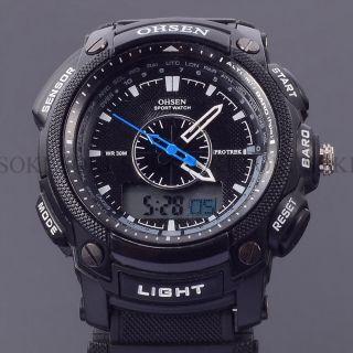 Tauchen Gummi Schwarz Ohsen Tag Datum Analog Digital Quarz Herren Armband Uhr Bild