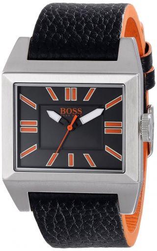 Herren Armbanduhr Hugo Boss Orange 1512940 Big Ben Quadratisch Schwarz Leder Bild