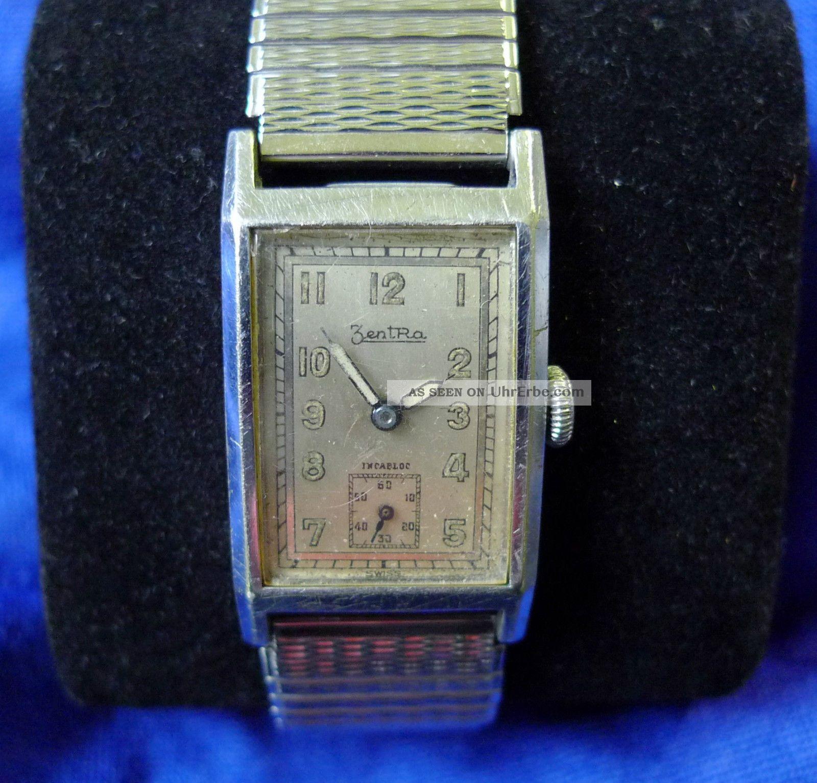 Vintage Zentra Rechteckige Hau Handaufzug 40er Jahre Armbanduhren Bild