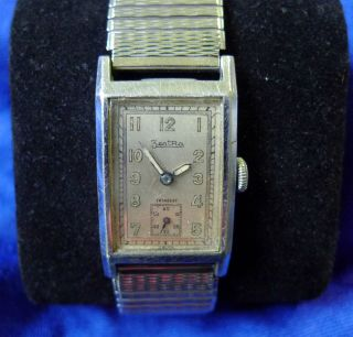 Vintage Zentra Rechteckige Hau Handaufzug 40er Jahre Bild