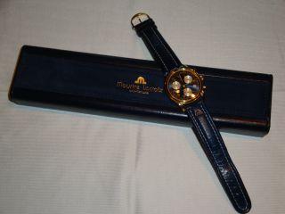 Maurice Lacroix Herrenuhr Quarz Chronograph Swiss Made Vergoldet Schleppzeiger Bild
