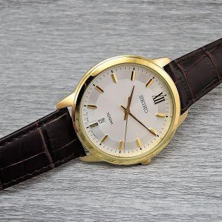 Seiko Sur036p1 Quarz Herrenarmbanduhr Vergoldet 10 Bar Wasserdicht Datum Bild