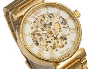 Exklusiv Winner Herrenuhr Gold Edelstahl Armband Skelett Uhr Edel Mechanisch Bild