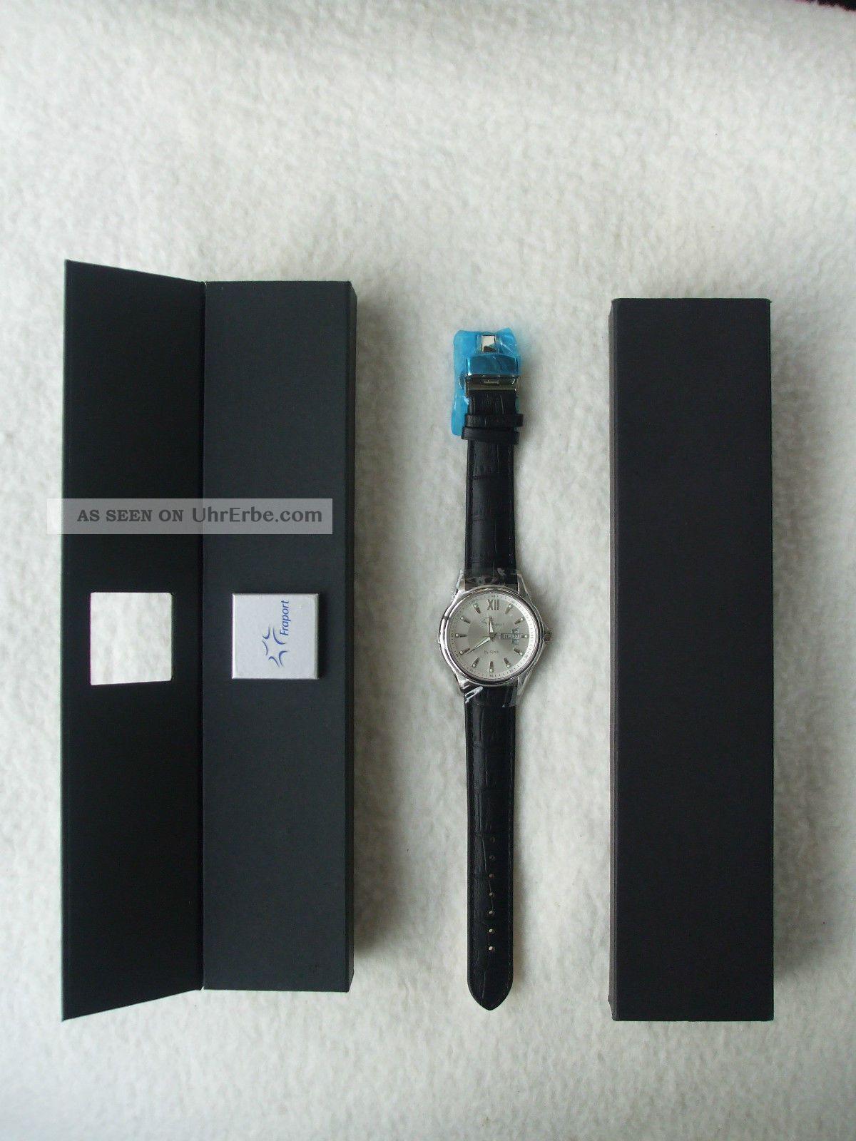 Herren Fraport Uhr 75jahre Flughafen Ffm Made By Sinn Mit Passendem Buch Armbanduhren Bild