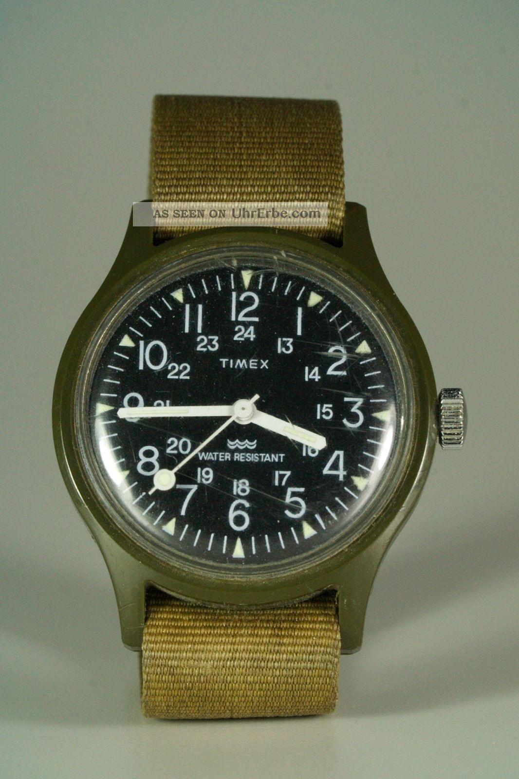 timex uhr military style mit armband vintage. Black Bedroom Furniture Sets. Home Design Ideas