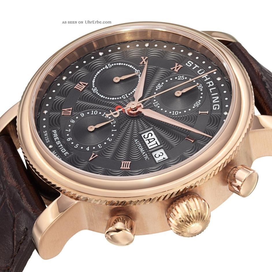 stuhrling 139 04 prestige prominente schweizer automatik chronograph herrenuhr. Black Bedroom Furniture Sets. Home Design Ideas