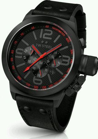 Tw Steel Canteen Style Tw902 Armbanduhr Für Herren Uhr Schwarz Rot Pvd Np:399€ Bild