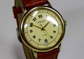 Poljot 17 Jewels 36mm Vergoldete Ussr Russische Uhr Ca.  1970 Vintage Sammlerstück Bild