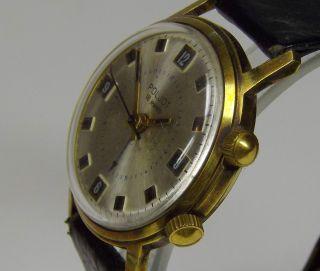 Poljot 18 Jewels Weckeruhr Vergoldete Ussr Russische Uhr Ca.  1970 Sammlerstück Bild