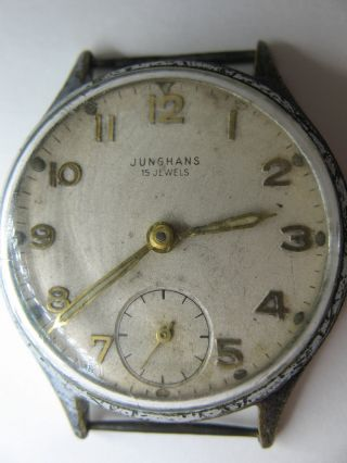 Junghans - Herrenuhr - Kal.  J98 Mit 15 Jewels - Ca.  1951 - Läuft Einwandfrei Bild