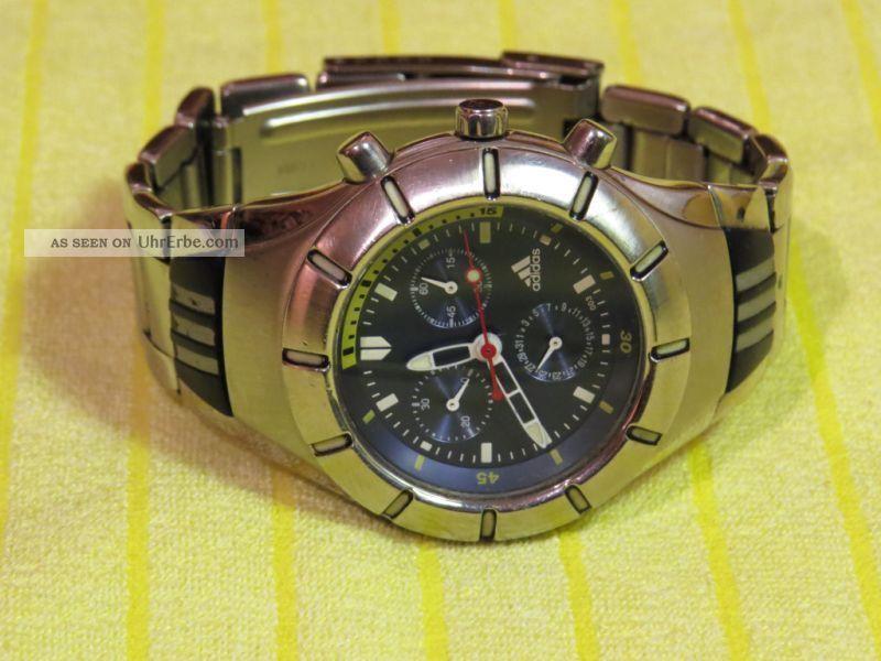 Adidas Herrenuhr Chronograph - Silber/blau - Edelstahl Sammlerstück Armbanduhren Bild
