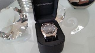 Emporio Armani Ar0342 Armbanduhr Für Herrenuhr Schwarz Lederarmband Bild