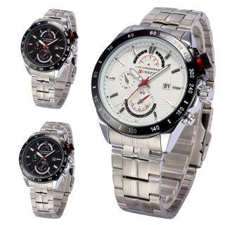 Curren Analog Herren Uhr Quarzuhr Datumsanzeige Armbanduhr Edelstahl Silber - V Bild