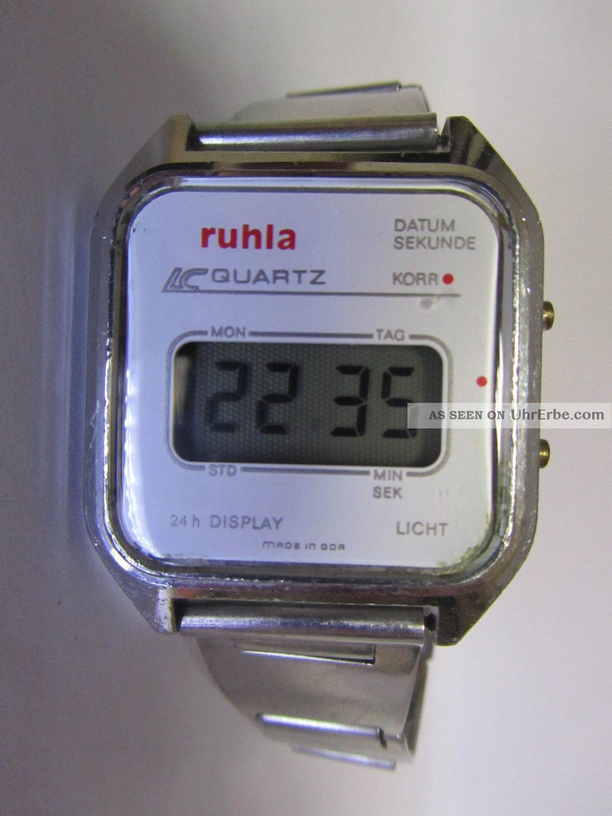 Ruhla Lcd Digital Ddr Quartz Uhr Mit Alu Band Seltenes Modell 16 - 01 _2 Armbanduhren Bild